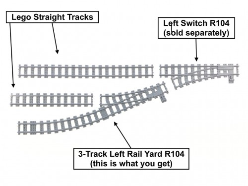 Image of Trixbrix product: 3-Track Left Rail Yard R104