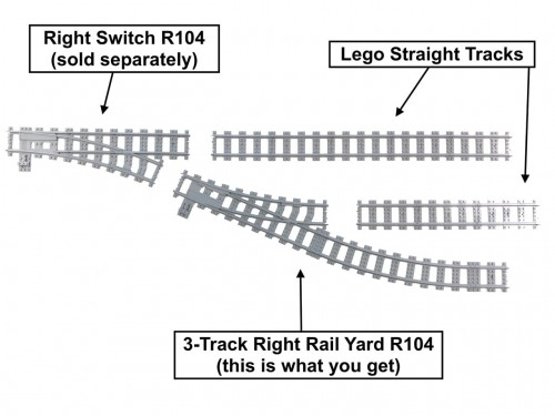 Image of Trixbrix product: 3-Track Right Rail Yard R104