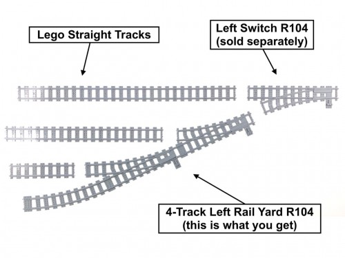 Image of Trixbrix product: 4-Track Left Rail Yard R104