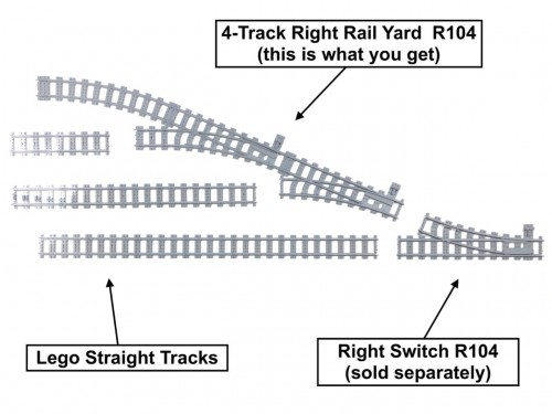 Image of Trixbrix product: 4-Track Right Rail Yard R104